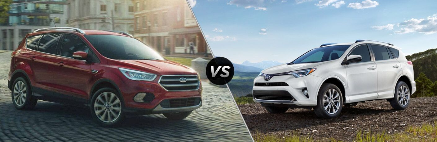 """red 2018 Ford Escape and a white 2018 Toyota RAV4 side by side with a slash and a """"vs"""" between them"""