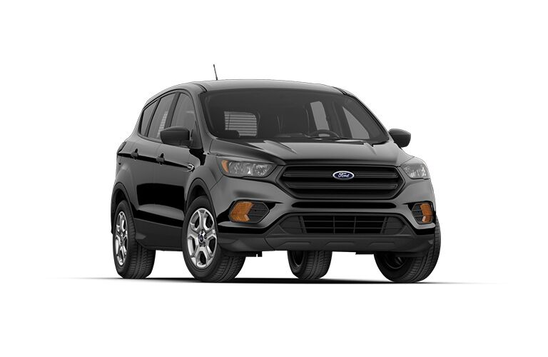 front view of a black 2018 Ford Escape, white background