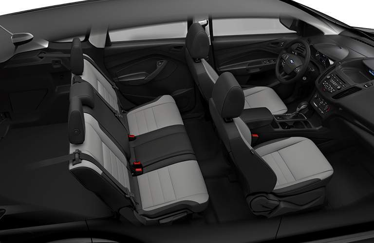 Isolated shot of 2018 Ford Escape interior with two rows of seating prominent in frame