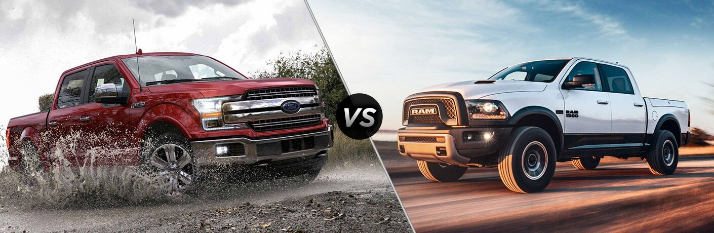 nose to nose comparison image of the 2018 Ford F-150 and 2018 Ram 1500
