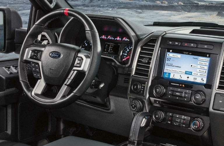 steering wheel and infotainment system of the 2018 Ford F-150