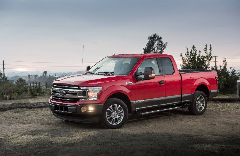 side view of a red 2018 Ford F-150 Diesel