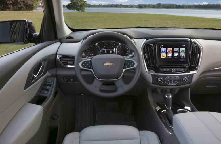 An interior photo of the dashboard in the 2018 Traverse.