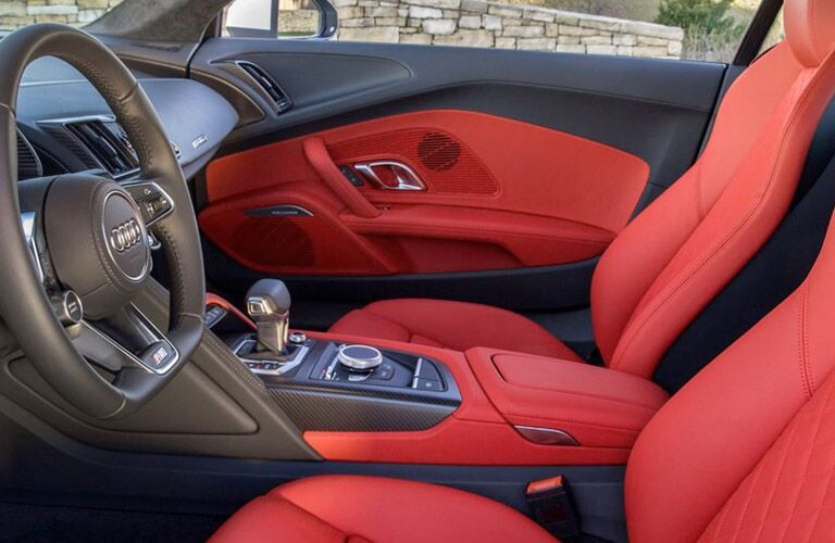 Audi R8 red leather interior front seats
