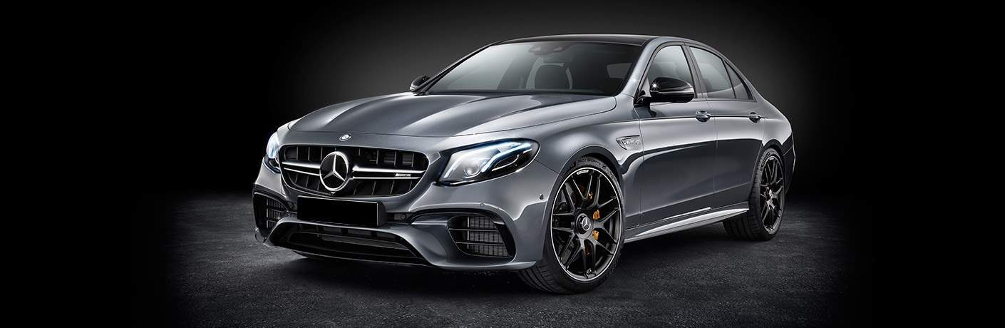 2018 Mercedes-Benz AMG E63 front side view gray