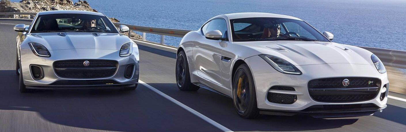 2018 Jaguar F-TYPE two models white side by side front view