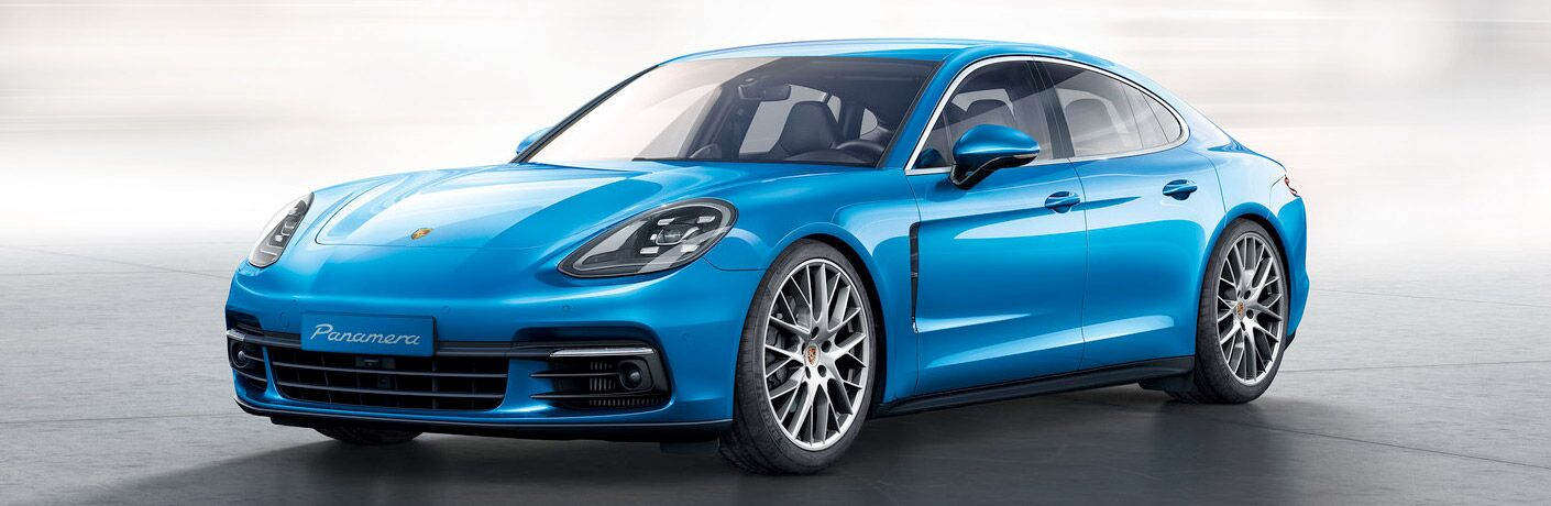 2017 Porsche Panamera baby blue side view