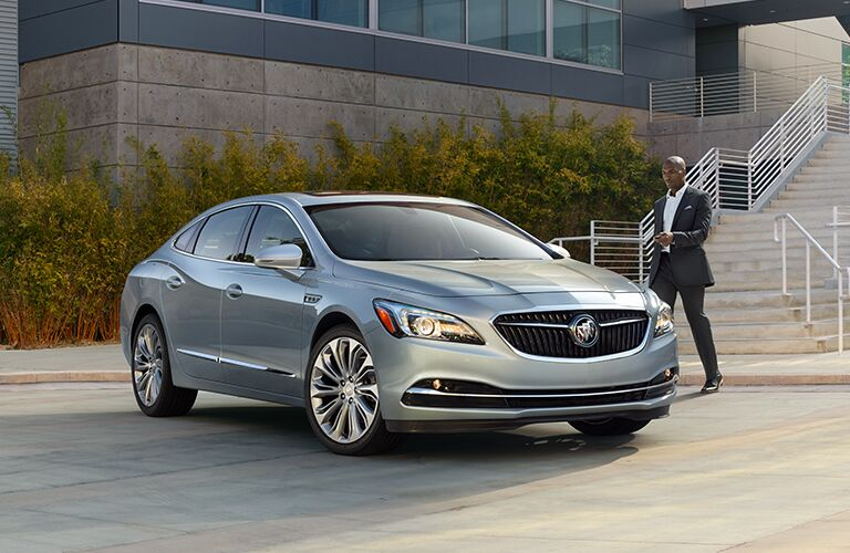 Silver 2019 Buick LaCrosse parked in front of stairs