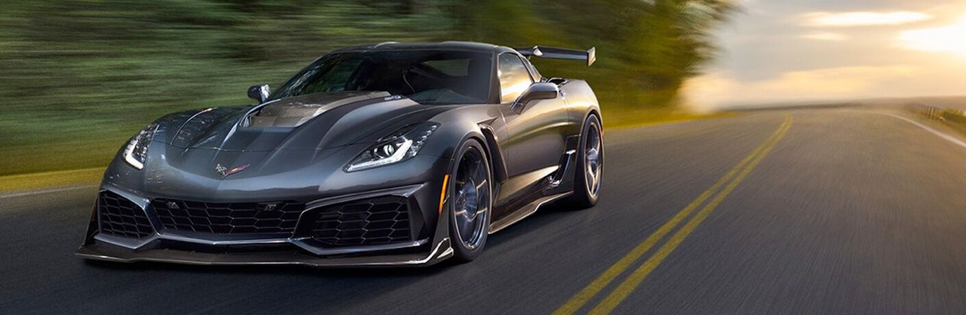 2019 Chevrolet Corvette driving on empty highway