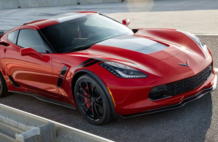 Overhead view of red 2019 Chevrolet Corvette