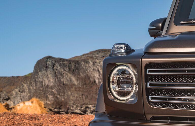 2019 Mercedes-Benz G-Class brown headlight close up