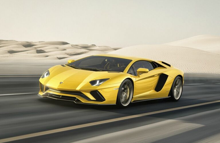 Lamborghini Aventador S yellow front side view driving