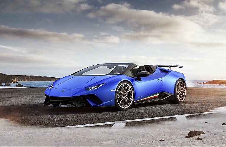 Lamborghini Huracan Performante Spyder blue front side view