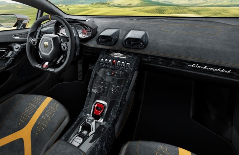 Lamborghini Huracan Performante black and yellow interior
