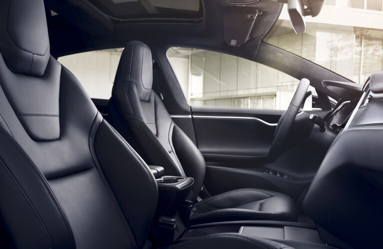 Tesla Model S black leather interior