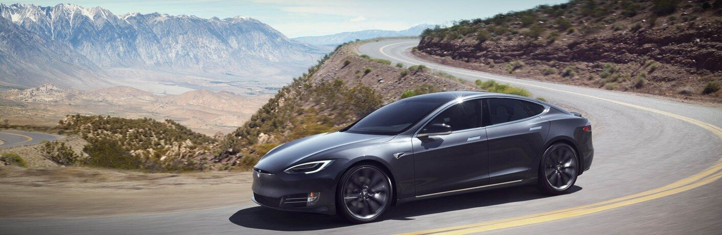 Tesla Model S black side view