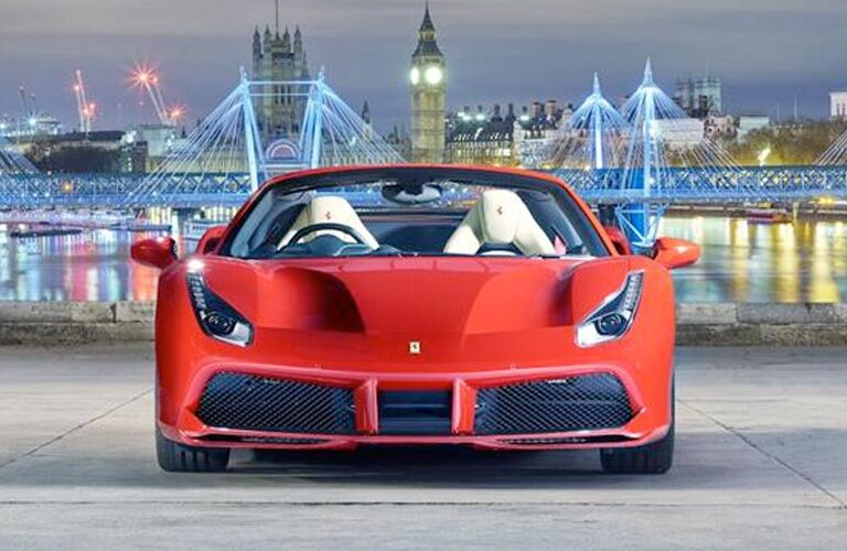 red ferrari in london by the river