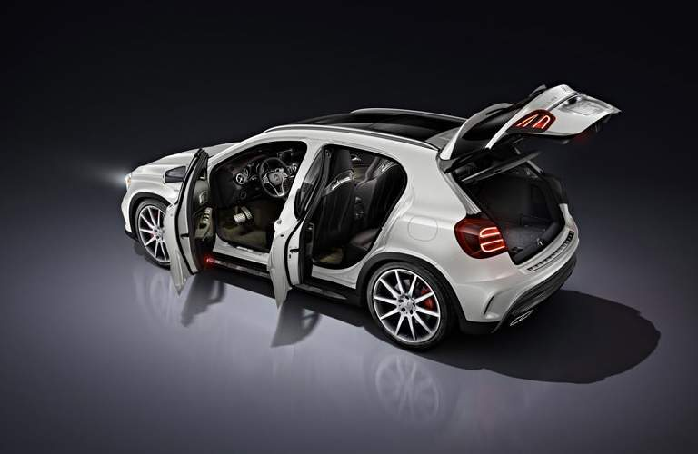 Mercedes-Benz GLA white back view all doors open