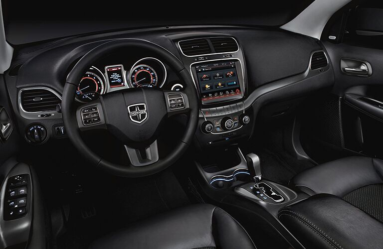 Steering wheel and touchscreen interface of 2018 Dodge Journey