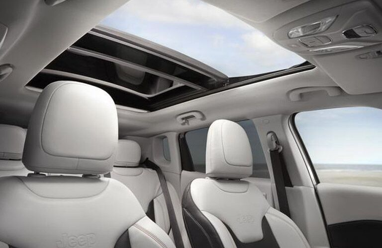 Looking out the sunroof of the 2018 Jeep Compass