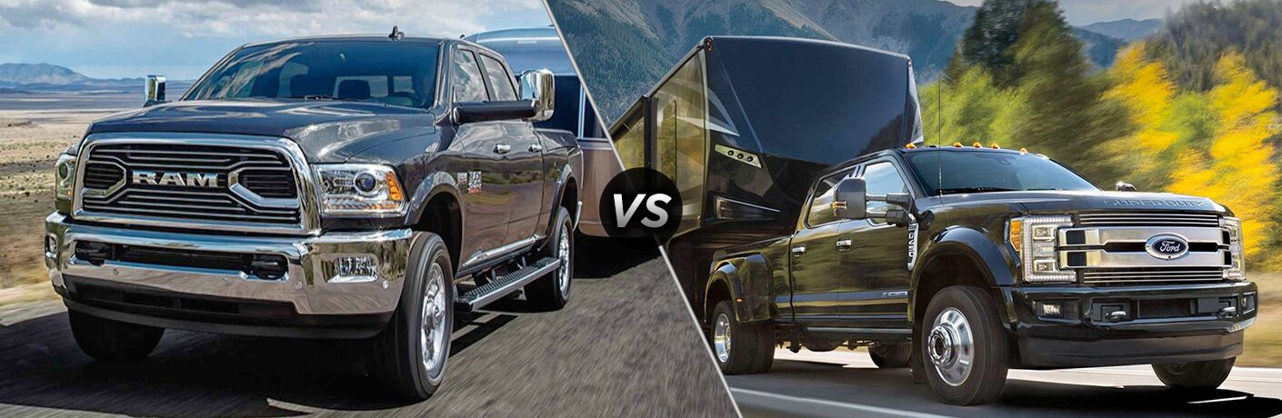 """Front exterior view of a black 2018 Ram 2500 on the left """"vs"""" front exterior view of a black 2018 Ford F-250 on the right"""