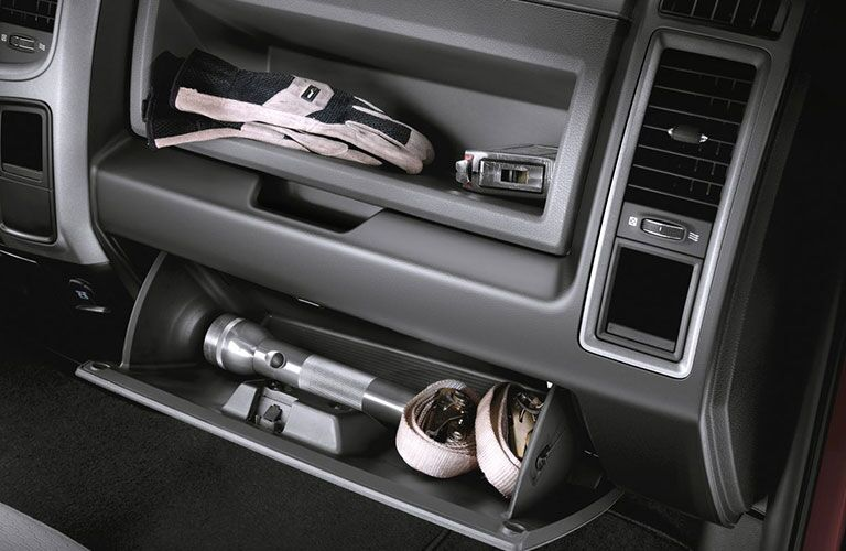 Glovebox and front storage area for the 2018 Ram 2500