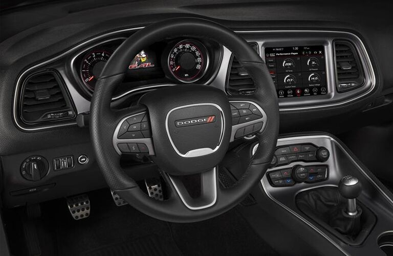 Steering wheel and gauges in 2019 Dodge Challenger