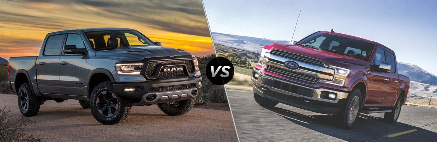 "Passenger side exterior view of a gray 2019 Ram 1500 on the left ""vs"" front driver side exterior view of a red 2019 Ford F-150 on the right"