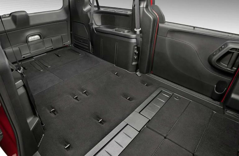 Rear seating folded flat in the 2019 Dodge Grand Caravan for cargo storage