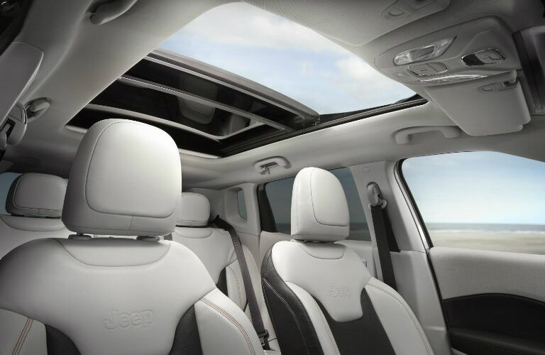 2019 Jeep Compass interior with open moonroof