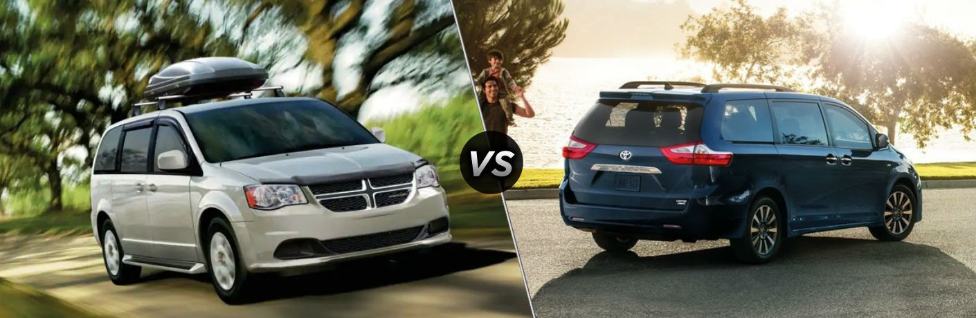 "Front passenger side exterior view of a gray 2019 Dodge Grand Caravan on the left ""vs"" rear passenger side exterior view of a blue 2019 Toyota Sienna on the right"