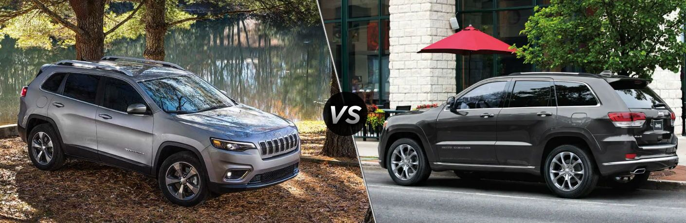 "Passenger side exterior view of a gray 2019 Jeep Cherokee on the left ""vs"" driver side exterior view of a gray 2019 Jeep Grand Cherokee on the right"
