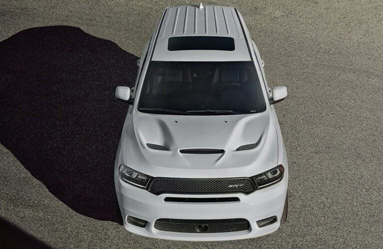 Overhead view of white 2020 Dodge Durango