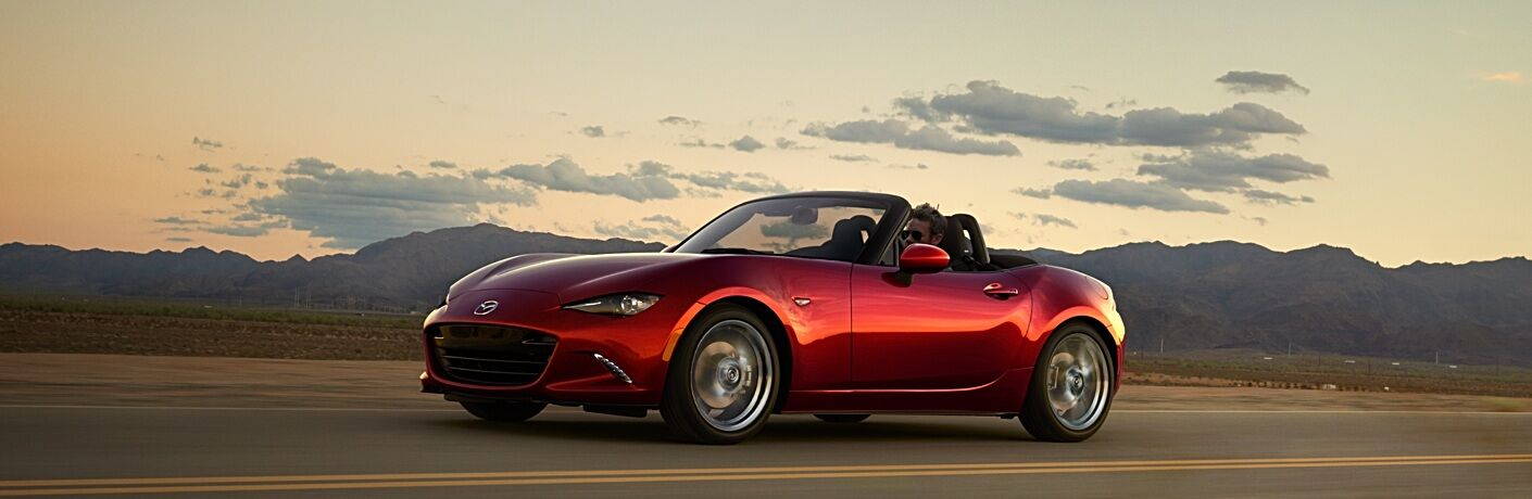 2018 Mazda MX-5 Miata red side view top down