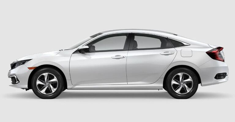 2019 Honda Civic LX white side view