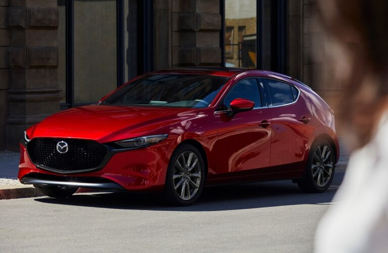 2019 Mazda3 hatchback red front view