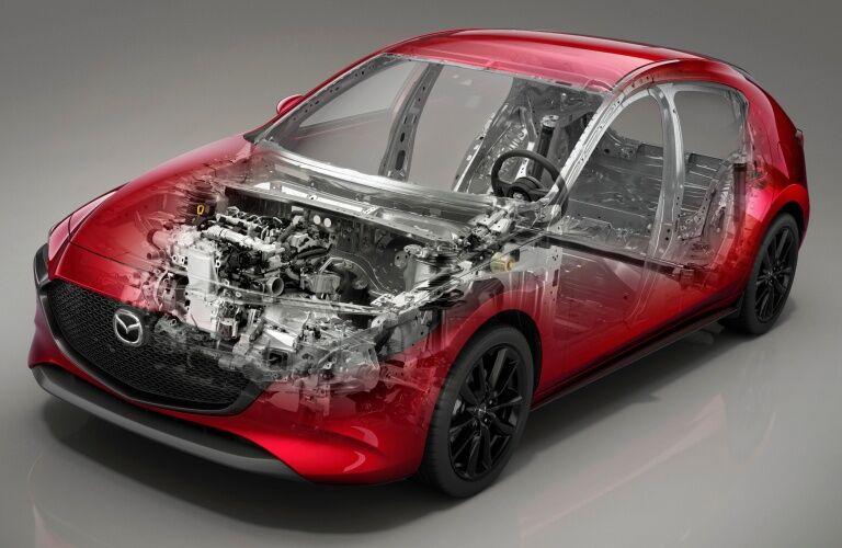 2019 Mazda3 red hatchback cutaway