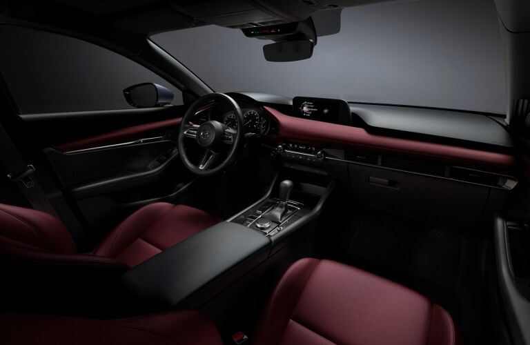 2019 Mazda3 red leather interior