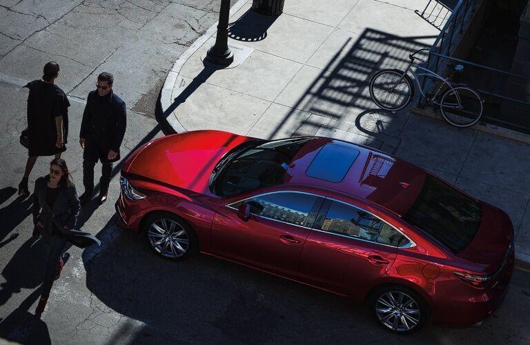2019 Mazda6 red top view at crosswalk