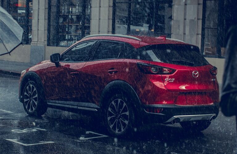 2019 Mazda CX-3 red side view in the rain