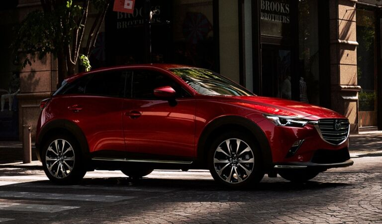 2019 Mazda CX-3 red side view on cobblestone