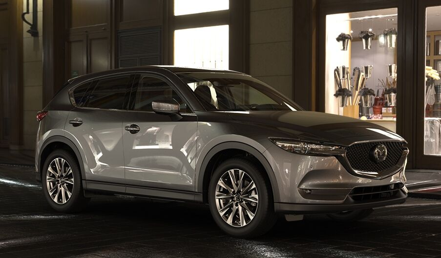 2019 Mazda CX-5 gray side view at night