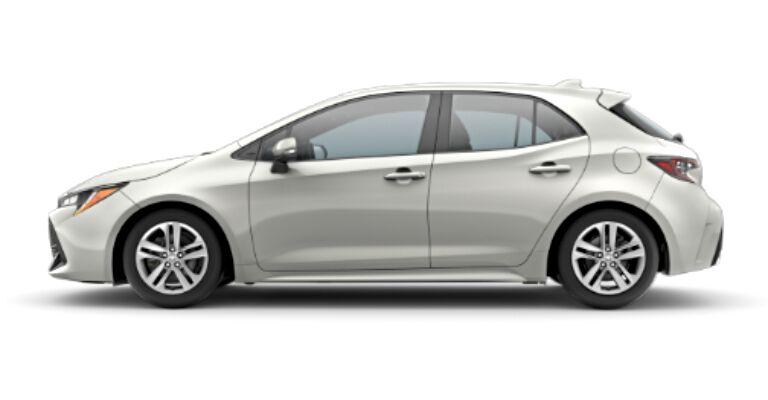 2019 Toyota Corolla SE Hatchback white side view