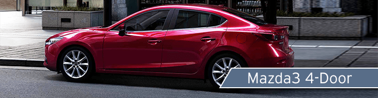 2018 Mazda3 red sedan side view