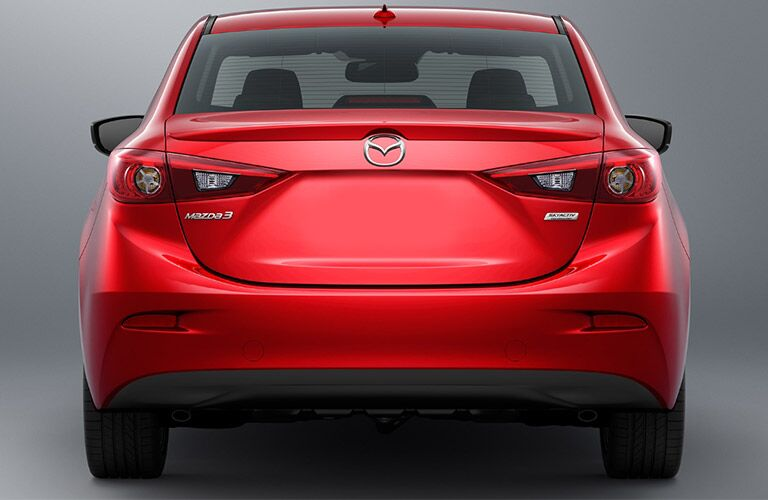 rear bumper and end of red 2018 mazda3