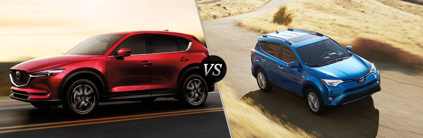 split screen between 2018 cx-5 in red and 2018 rav4 in blue both driving on desert roads