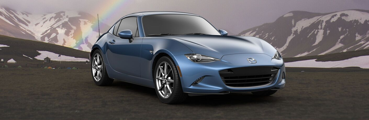 front and side view of blue 2019 mazda mx-5 miata rf