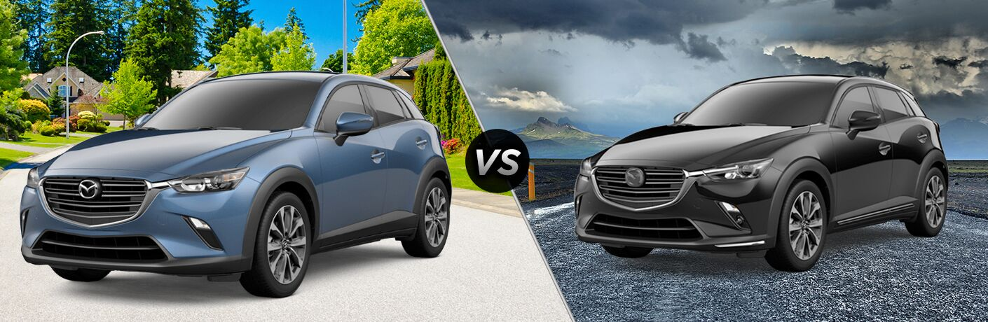 2019 Mazda CX-3 Touring set against 2019 Mazda CX-3 Grand Touring