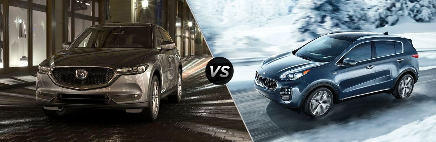 """2019 Mazda CX-5 and 2019 Kia Sportage, separated by a diagonal line and a """"VS"""" logo. Yes, it's a 2019 Sportage, but the changes made to the 2020 are minor so the appearance is basically the same."""