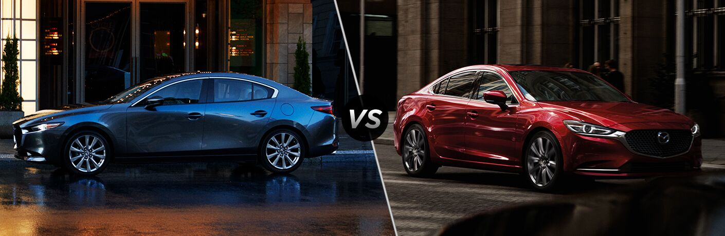 "Driver side exterior view of a blue 2019 Mazda3 Sedan on the left ""vs"" front passenger side exterior view of a red 2019 Mazda6"